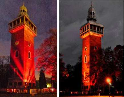 Carillon lit up in red